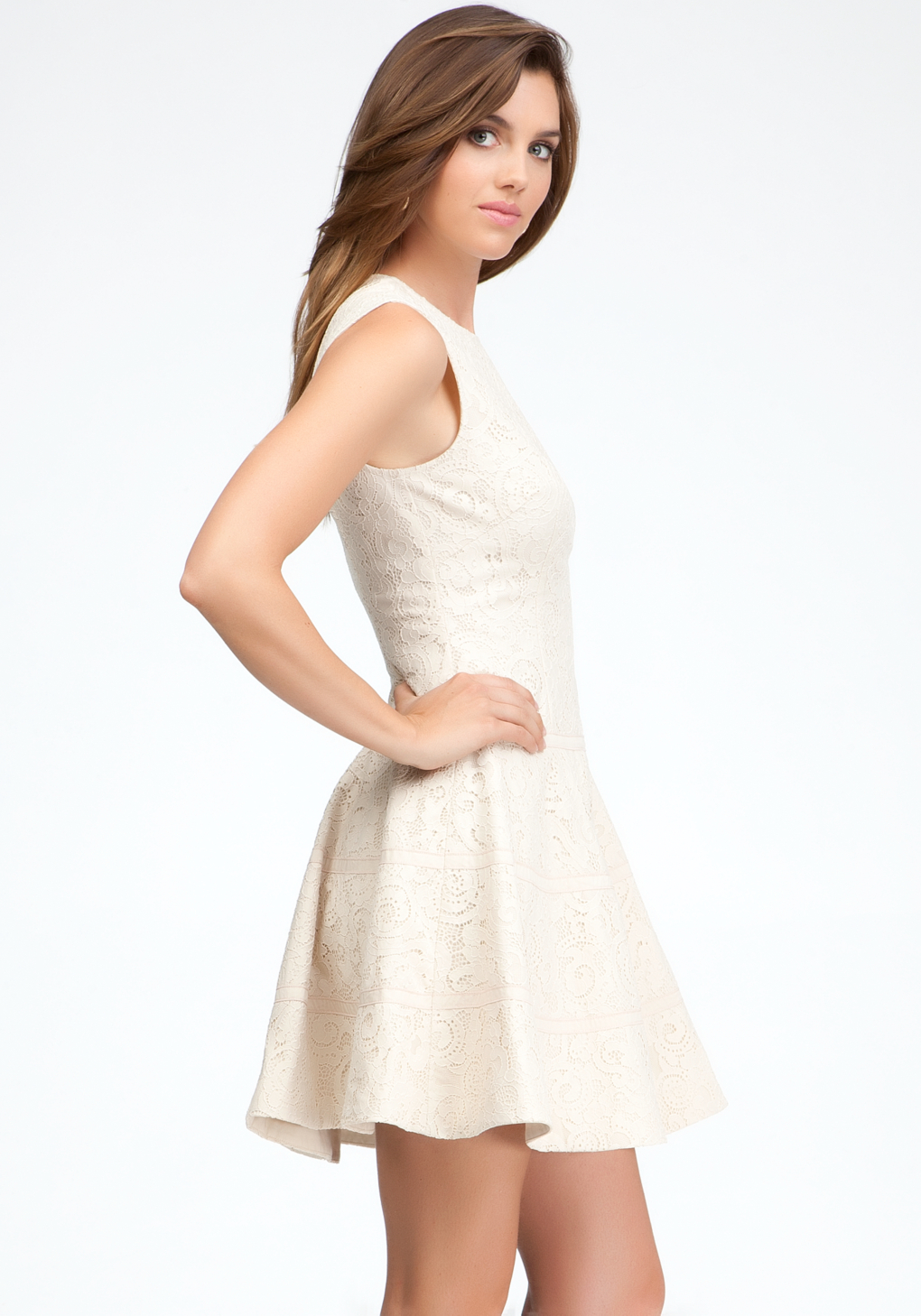 Bebe sleeveless lace fit flare dress in white lyst for Bebe dresses wedding guest