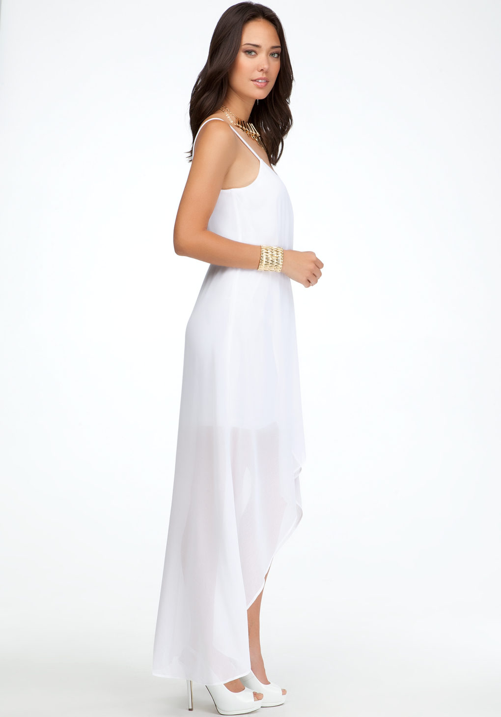 Bebe High Low Crossover Front Dress In White Lyst