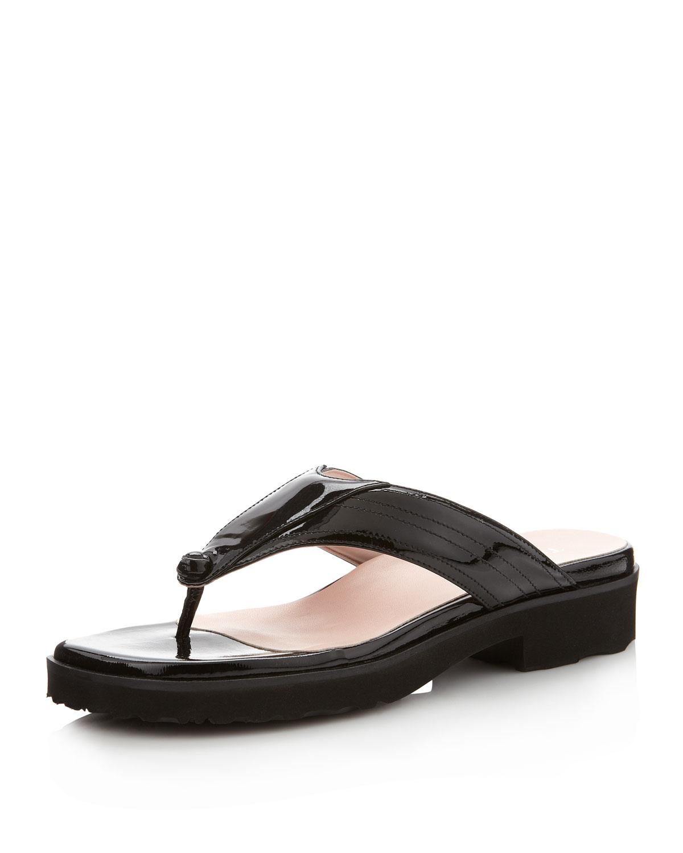 Taryn Rose Trinity Thong Sandal In Black Lyst