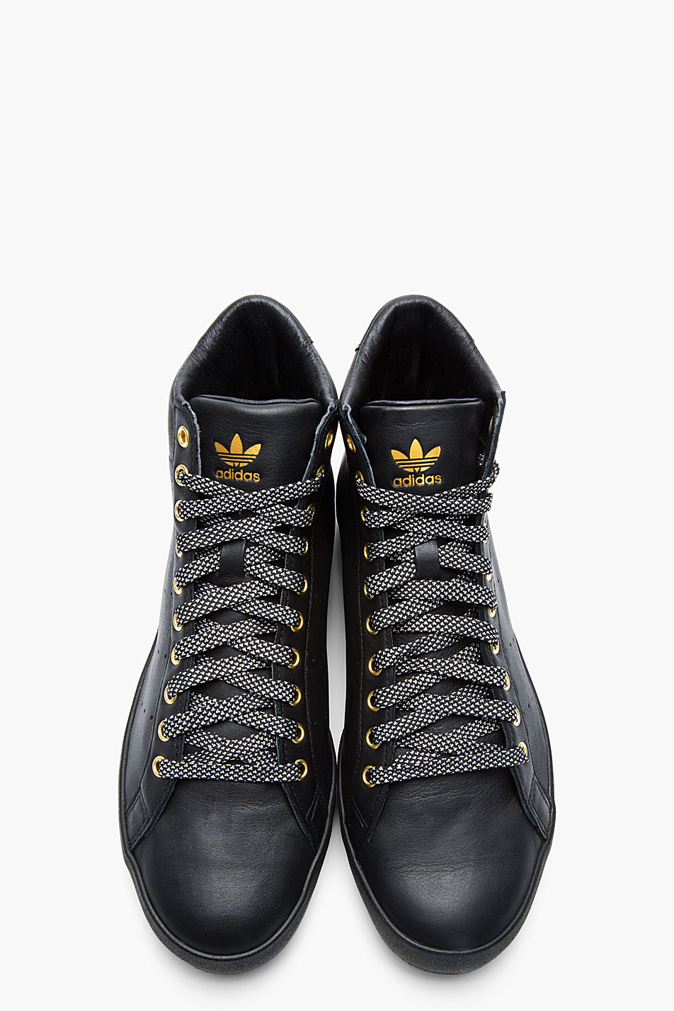 Adidas Originals Top Ten Hi Rare Sneakers New Brown: Opening Ceremony Black And Gold Leather Rod Laver