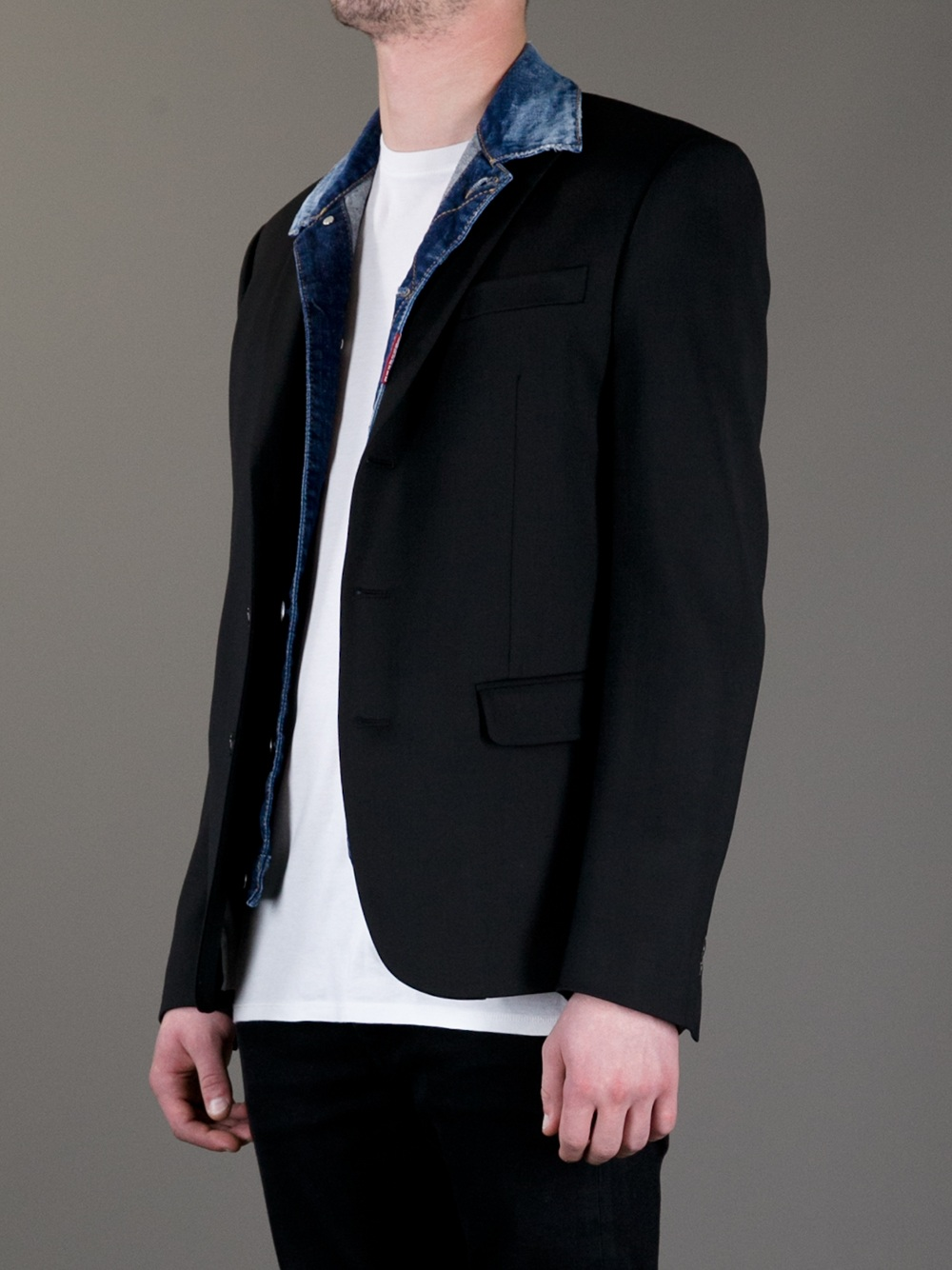 DSquared² Suit Jacket with Denim Inlay in Black (Blue) for Men