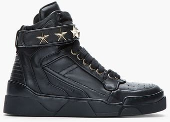 Givenchy Black Leather Star Embellished Hightop Sneakers - Lyst