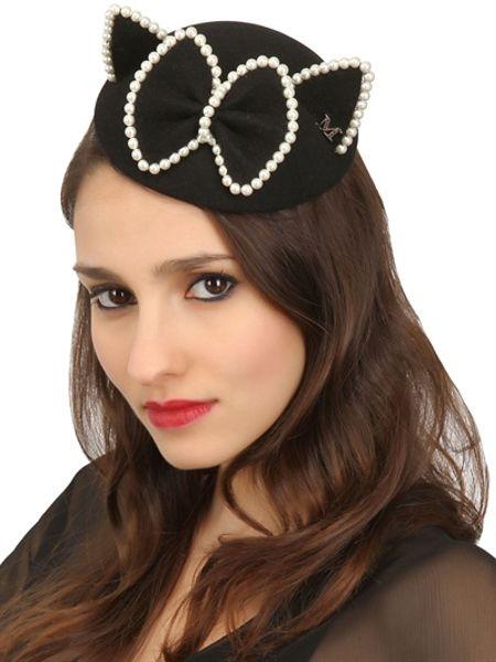 Maison michel bibi yoko felt fur pearls cat ear hat in for Maison michel
