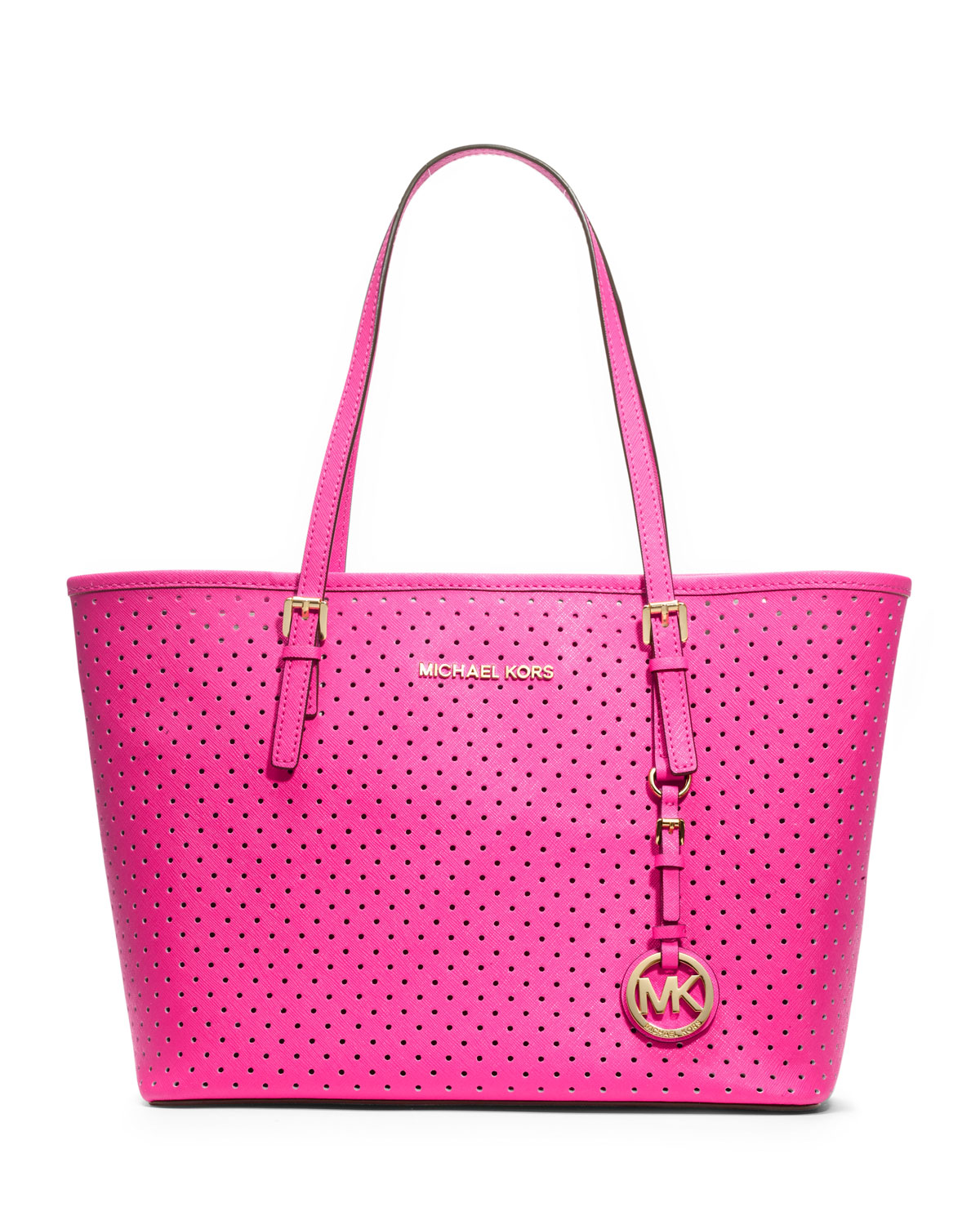 lyst michael michael kors small jet set perforated travel tote in pink. Black Bedroom Furniture Sets. Home Design Ideas