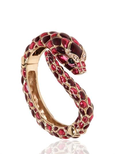 Roberto Cavalli Snake Swarovski Metal Bracelet In Gold