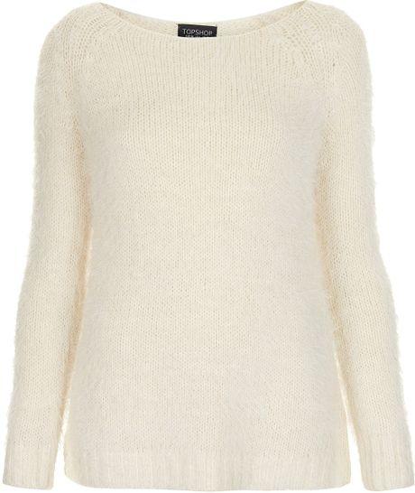 Topshop Knitted Fluffy Stitch Jumper in Beige (cream) Lyst
