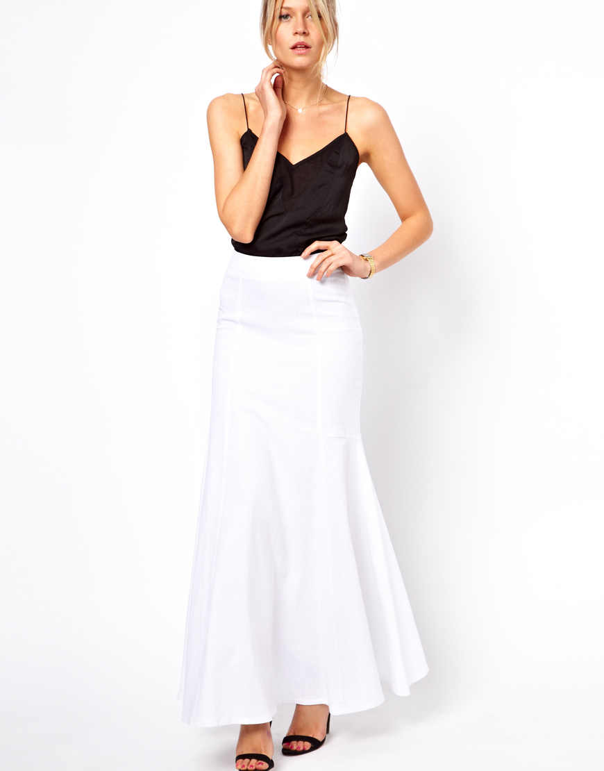 c63b7b6bb79 ASOS Collection Maxi Skirt in Linen in White - Lyst