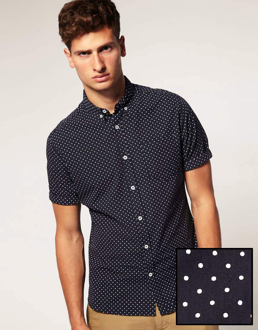 g star raw asos shirt in short sleeve with polka dot print