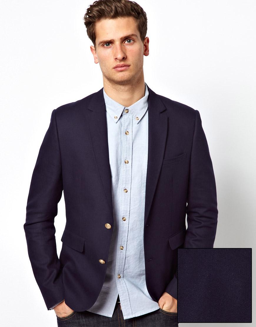 asos slim fit blazer in blue for men lyst. Black Bedroom Furniture Sets. Home Design Ideas