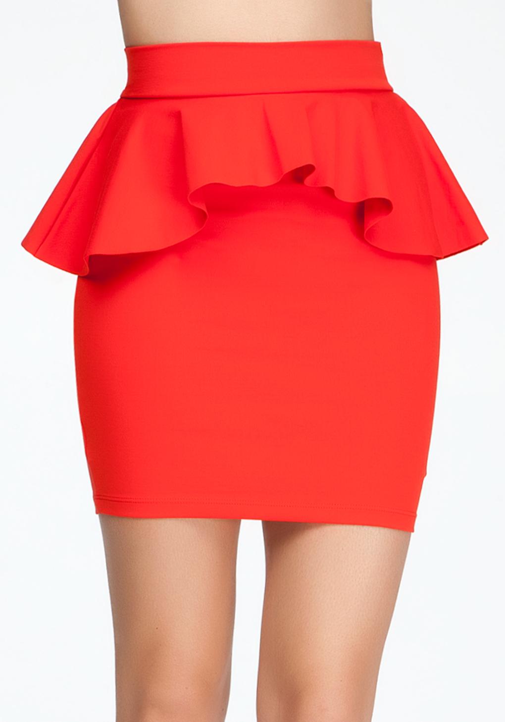 Bebe Knit Pencil Peplum Skirt In Red