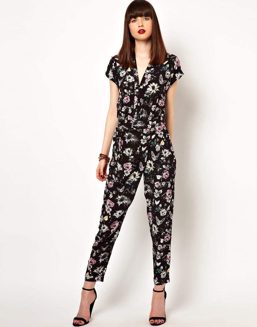 eleven paris jumpsuit in floral butterfly print in black