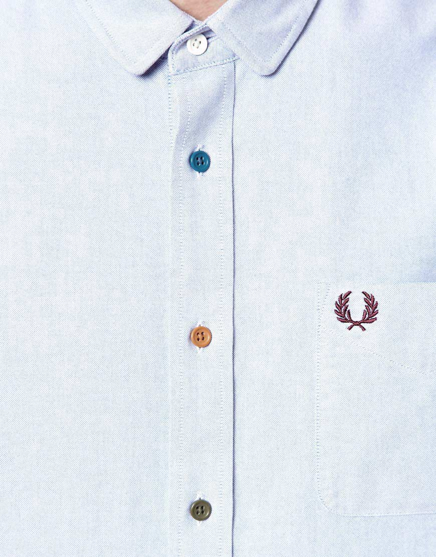 Fred perry Oxford Shirt with Multi Coloured Buttons in Blue for ...