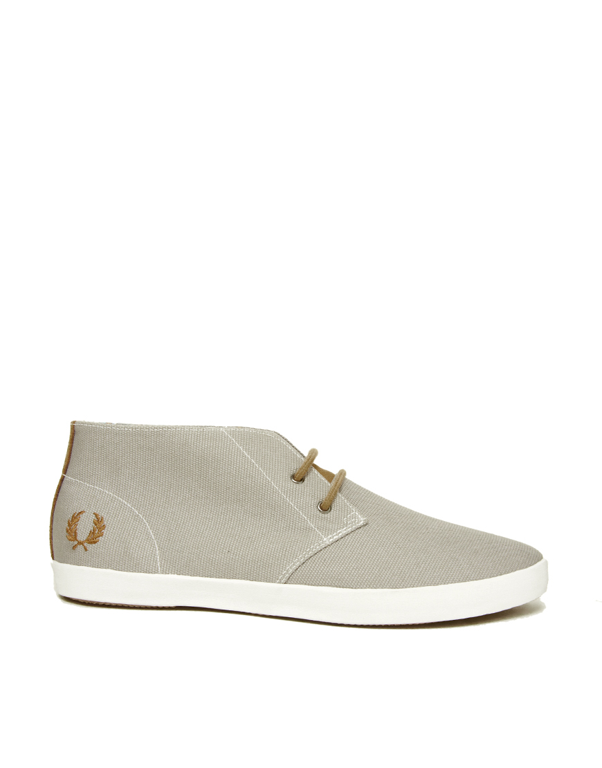 Fred Perry Byron Canvas Chukka Boots In Gray For Men Lyst