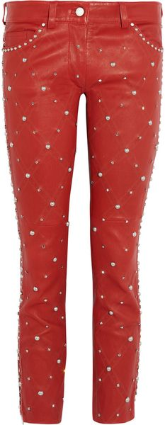 Isabel Marant Duncan Embellished Cropped Leather Pants - Lyst