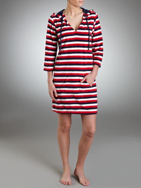 John Lewis Striped Towelling Beach Dress In Red Multi