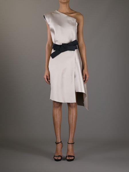 Lanvin One Shoulder Bow Dress In Gray Grey Lyst