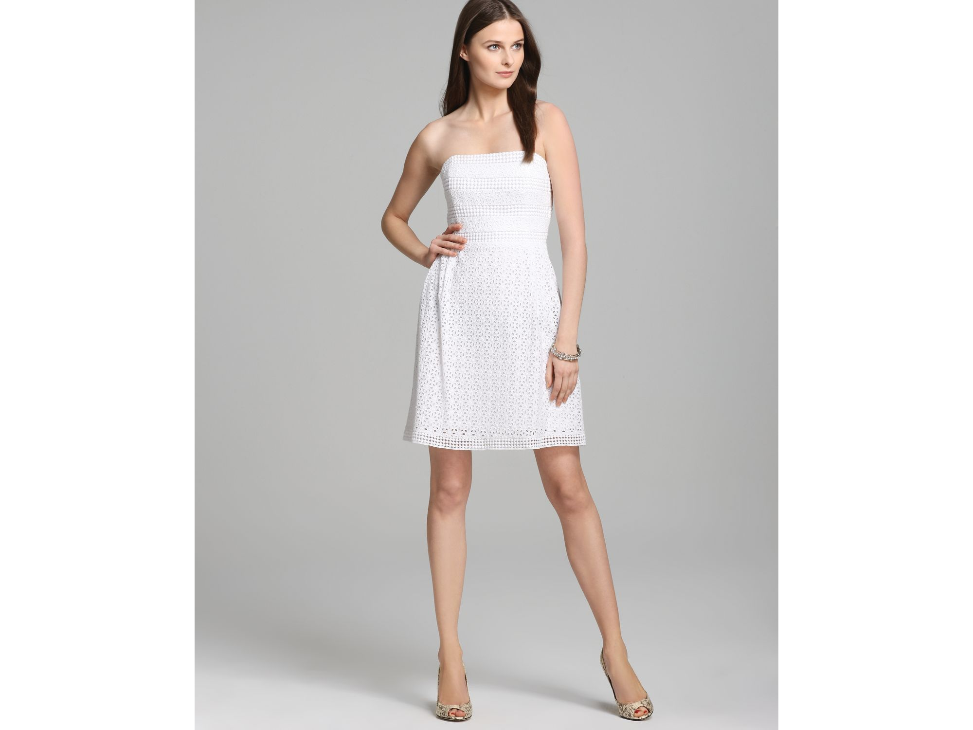 e209f2f908647 Laundry by Shelli Segal Strapless Dress Eyelet Fit Flare in White - Lyst
