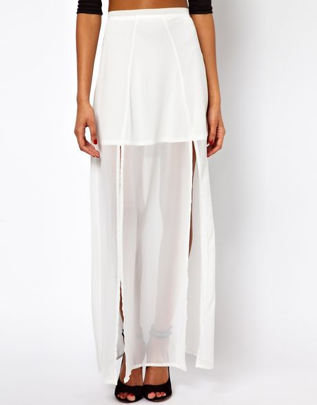 maxi skirt with front split in white lyst