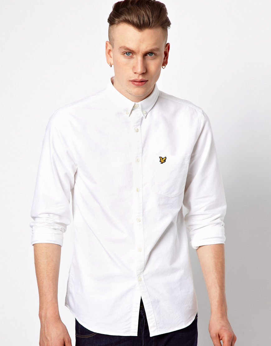 Lyle Scott Oxford Shirt With Eagle Logo In White For Men