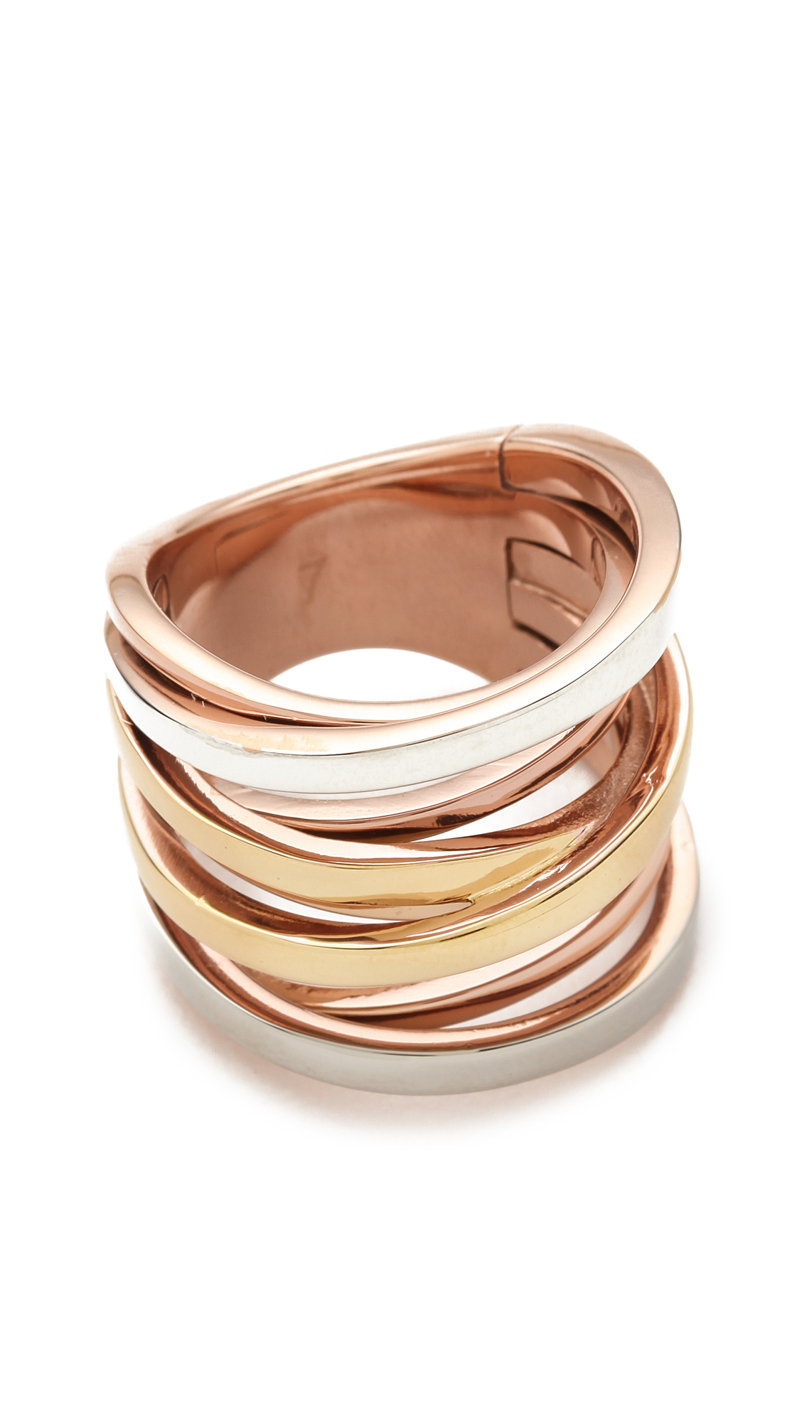 Michael kors brilliance tritone intertwined ring in gold lyst