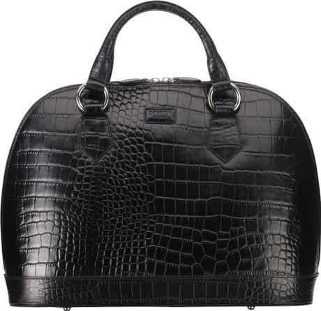 7480603c3fba Osprey London Large Ladybug Croc Print Grab Handbag in Black ( black)