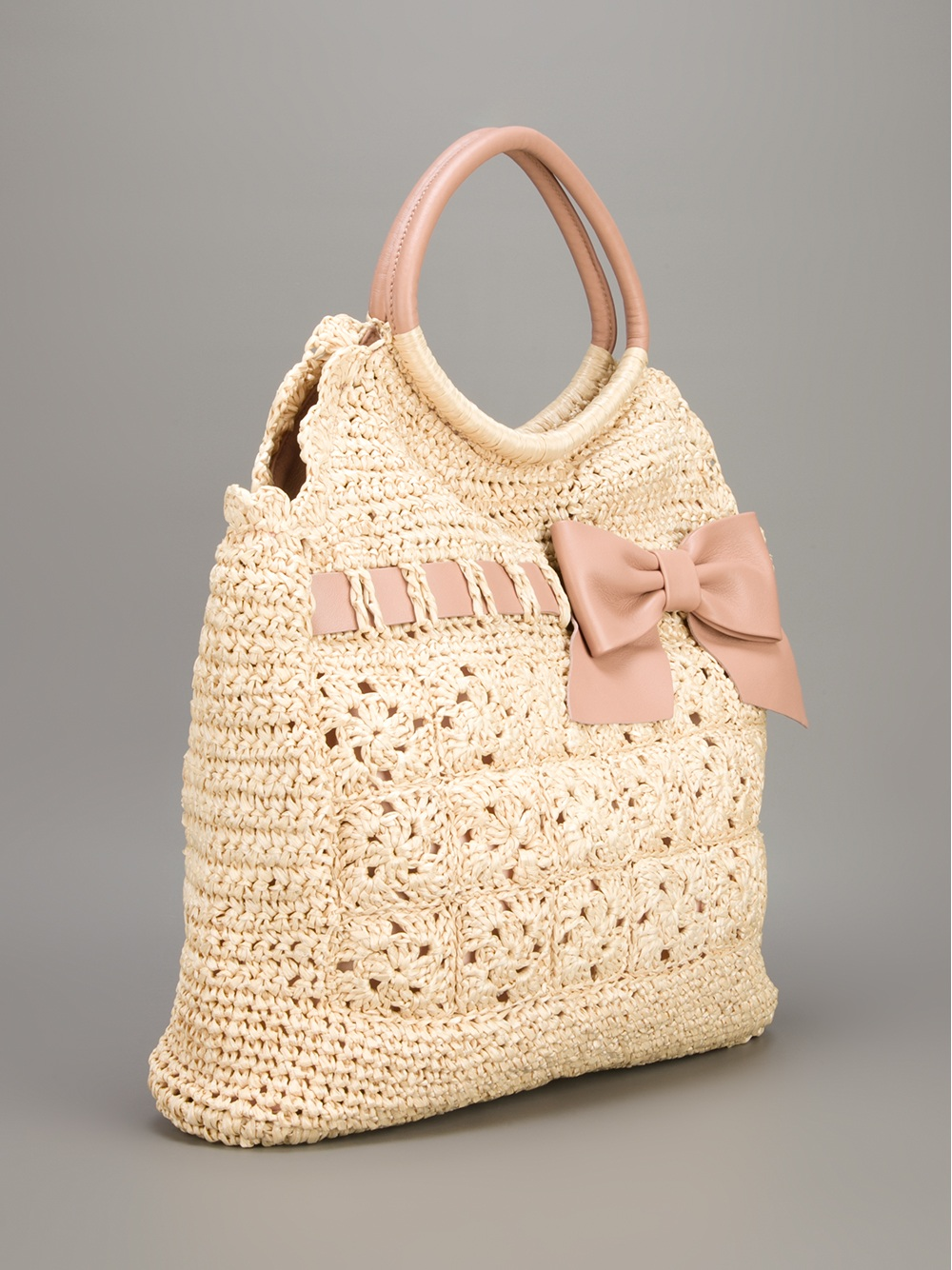 Red Valentino Woven Straw Tote In Natural Lyst