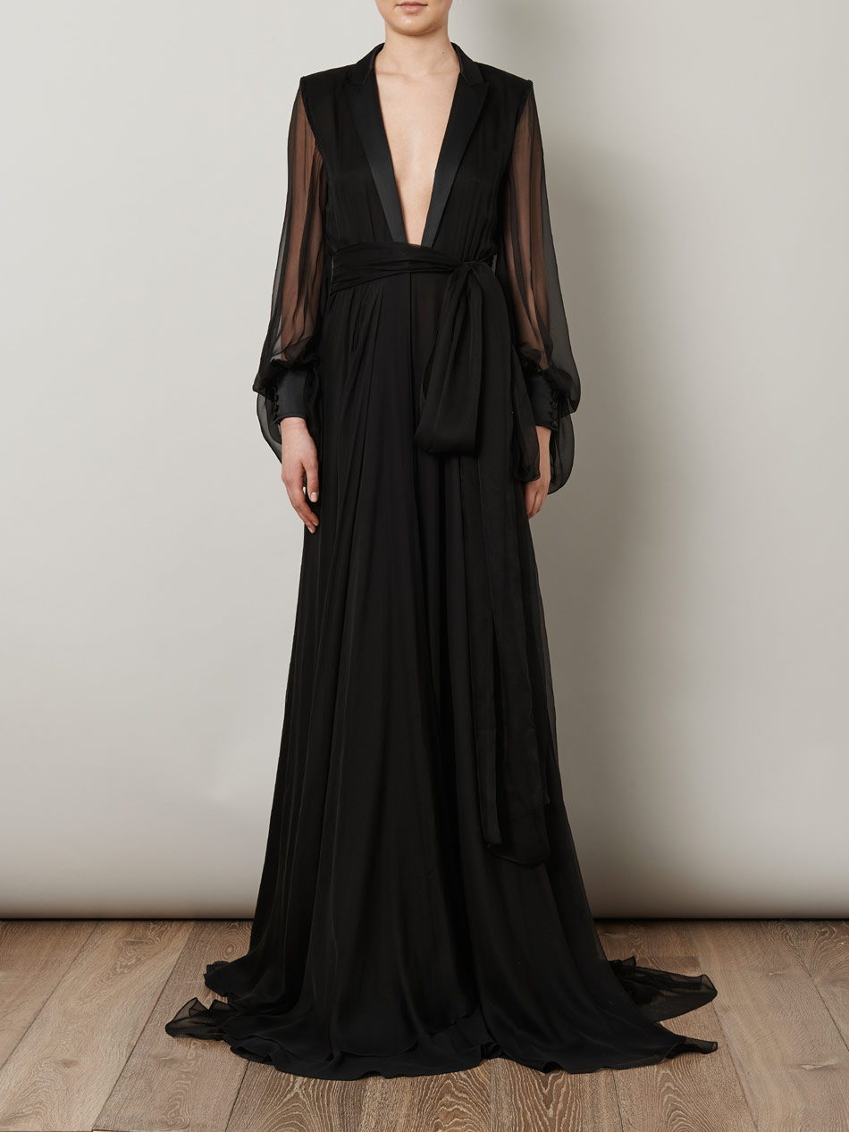 Lyst Saint Laurent Le Smoking Full Length Gown In Black