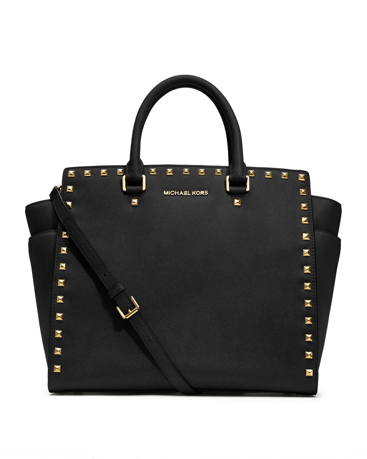 michael kors large selma studded saffiano tote in black lyst. Black Bedroom Furniture Sets. Home Design Ideas
