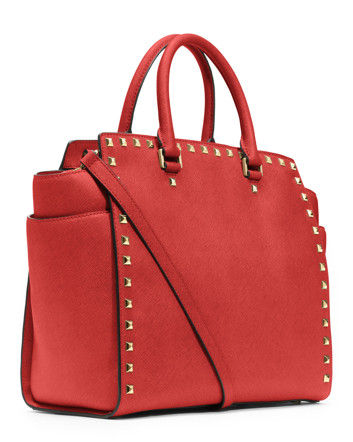 dfcb0cc23e29 Lyst - Michael Kors Large Selma Studded Saffiano Tote in Red