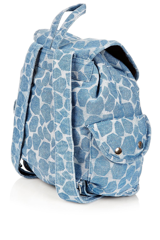 Lyst Topshop Denim Giraffe Backpack In Blue