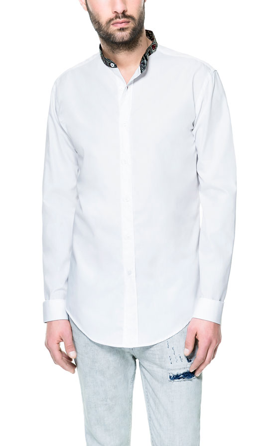 Zara poplin shirt with mao collar in white for men lyst for Zara mens shirts sale