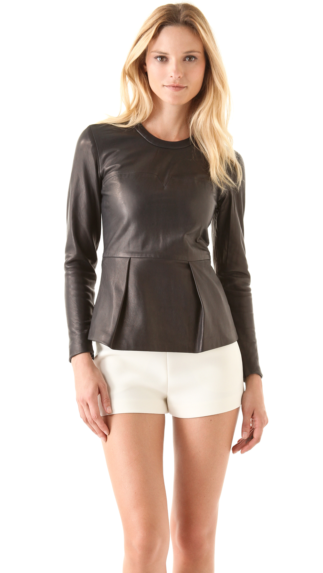 Shop Ashley Stewart for this plus size one shoulder peplum top: sexy, fun, flirty, trendy w/ a smoking hot, comfy fit + confident, cool, foxy faux leather!