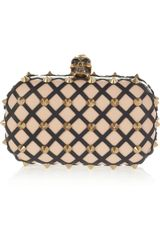Alexander McQueen The Skull Studded Lattice Leather Clutch