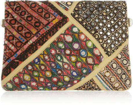 Antik Batik Banjo Embellished Clutch In Multicolor