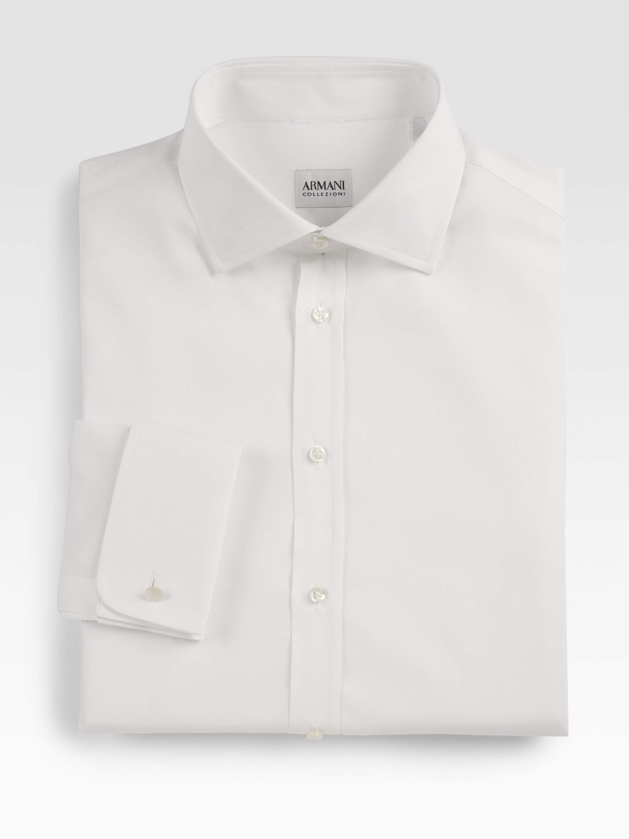Armani modern fit french cuff dress shirt in white for men for Modern fit dress shirt