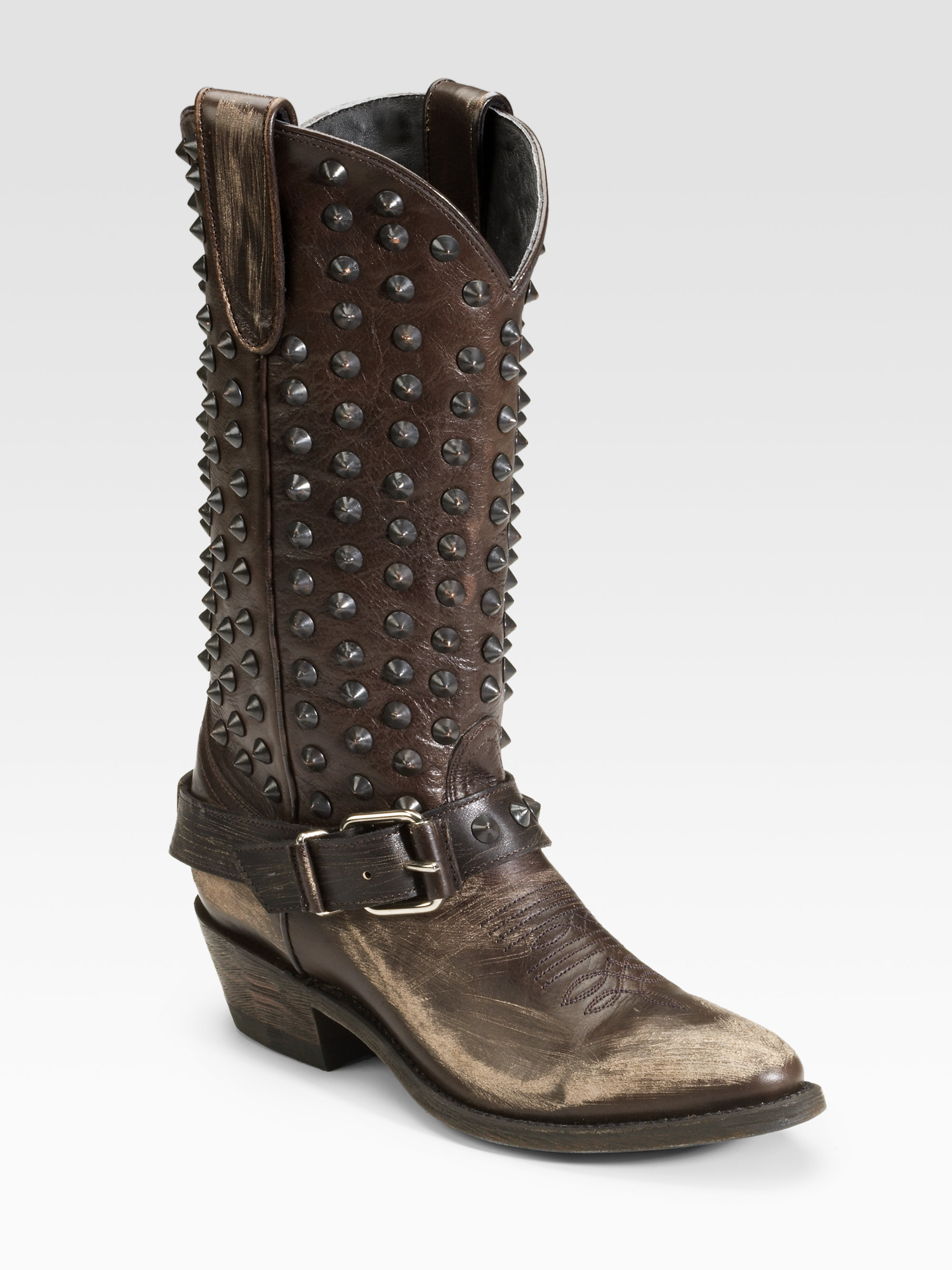 7ea71a16c6b Ash Brown Studded Cowboy Boots