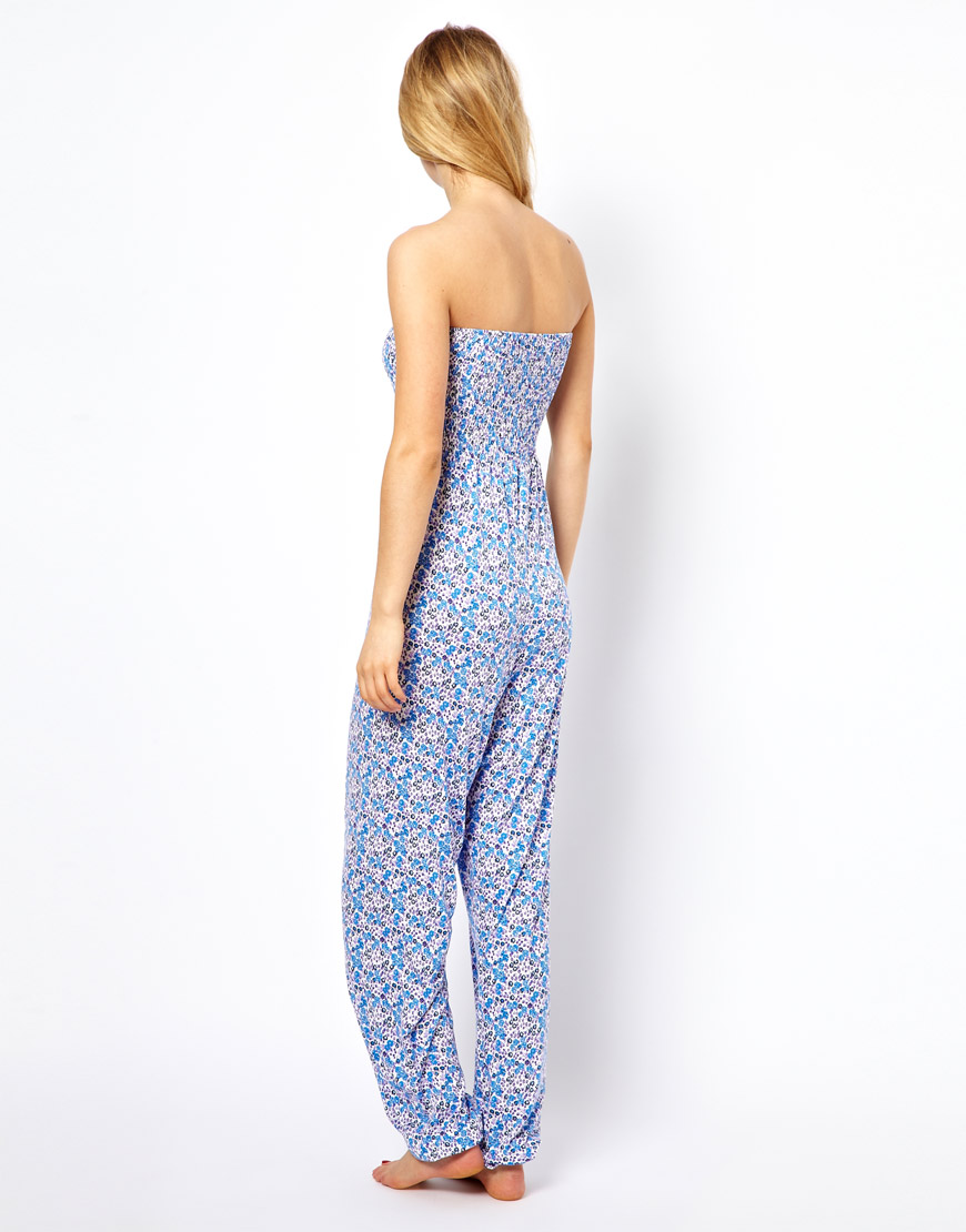 7c6b71f4a6b Lyst - ASOS Collection Floral Bandeau Harem Jumpsuit in Blue