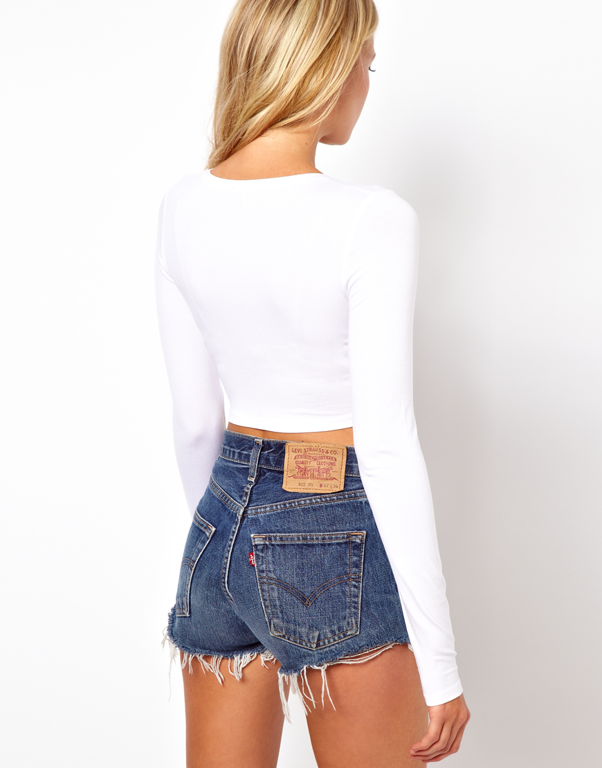 Nudie Jeans Crop Top with Long Sleeve in White - Lyst