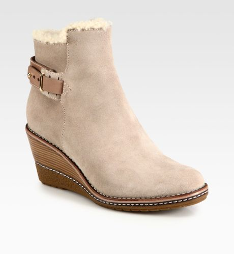 cole haan rayna shearlinglined suede wedge ankle boots in