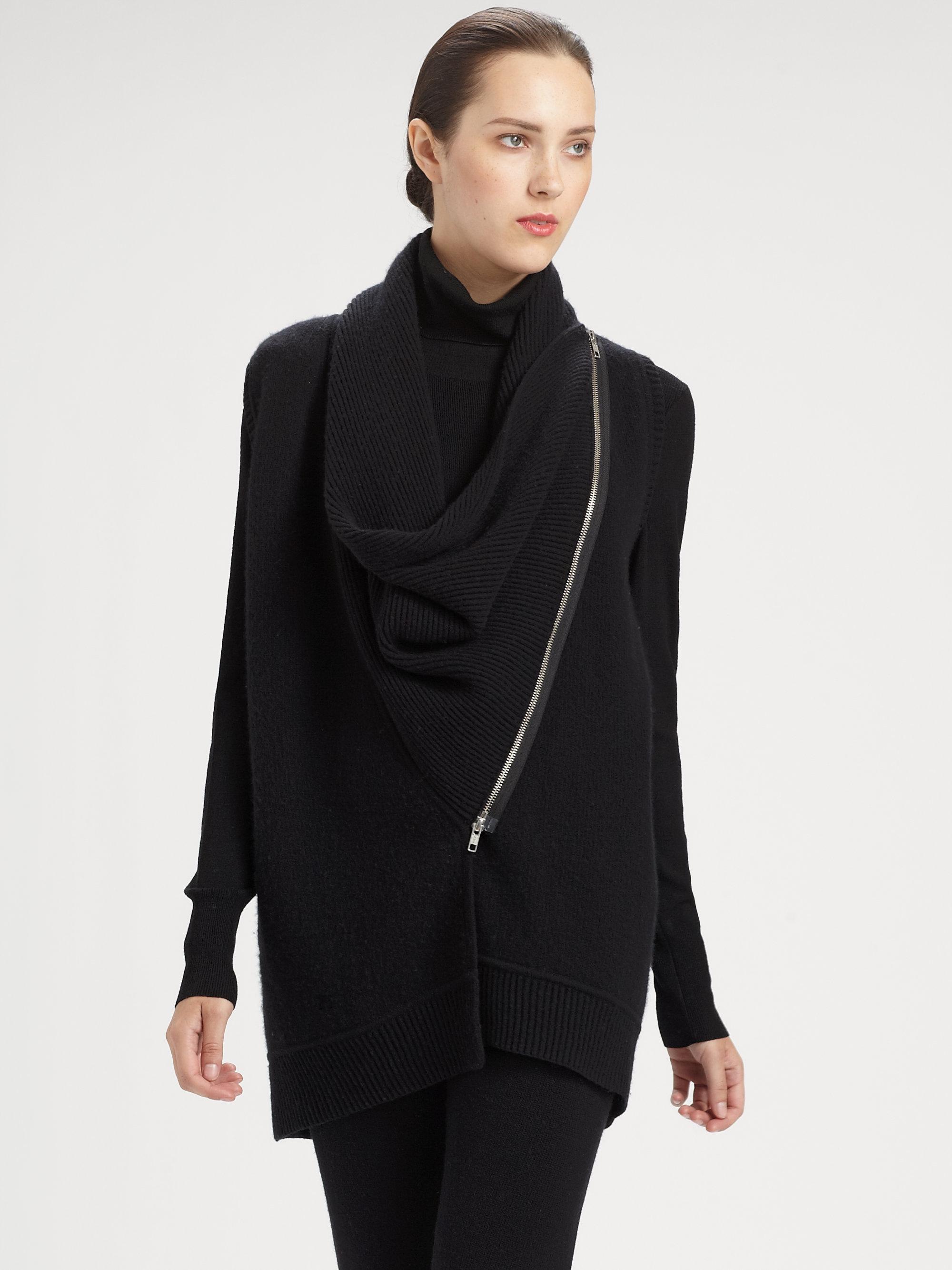 donna karan new york asymmetrical zip front cashmere vest. Black Bedroom Furniture Sets. Home Design Ideas