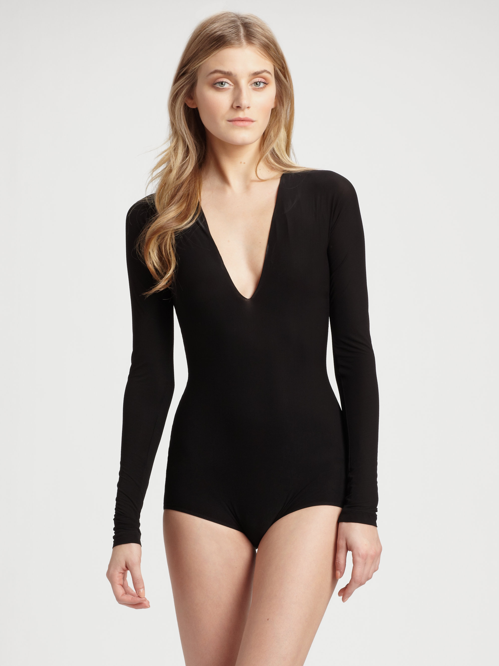 Donna karan new york sheer jersey v plunge bodysuit in black for Donna karen new york