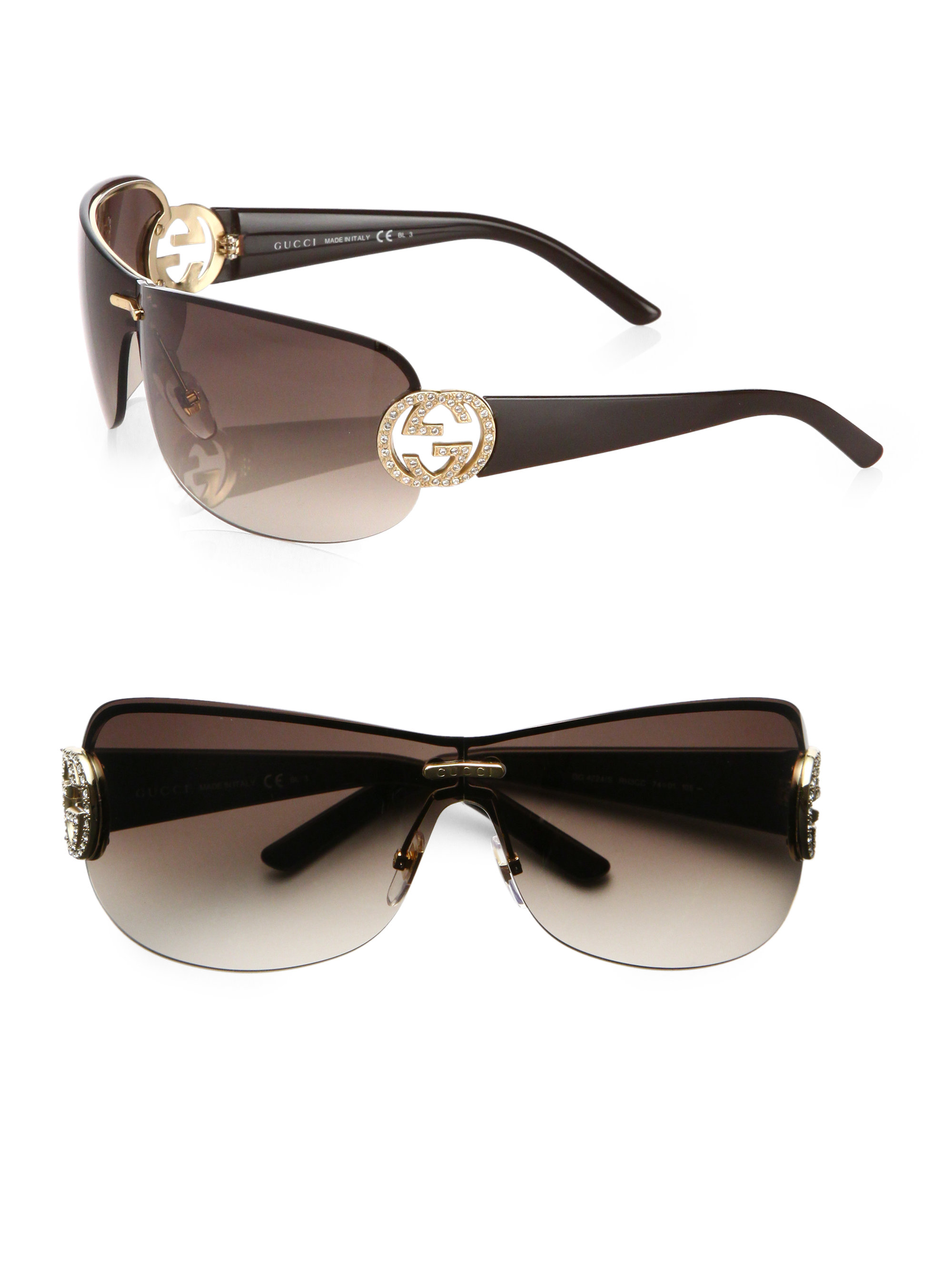 f23915e6671 Lyst - Gucci Oversized Round Crystal Gg Shield Sunglasses in Brown