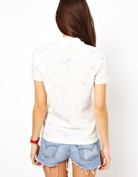 Lacoste Tie Dye Polo Shirt In White Whiteblue Lyst