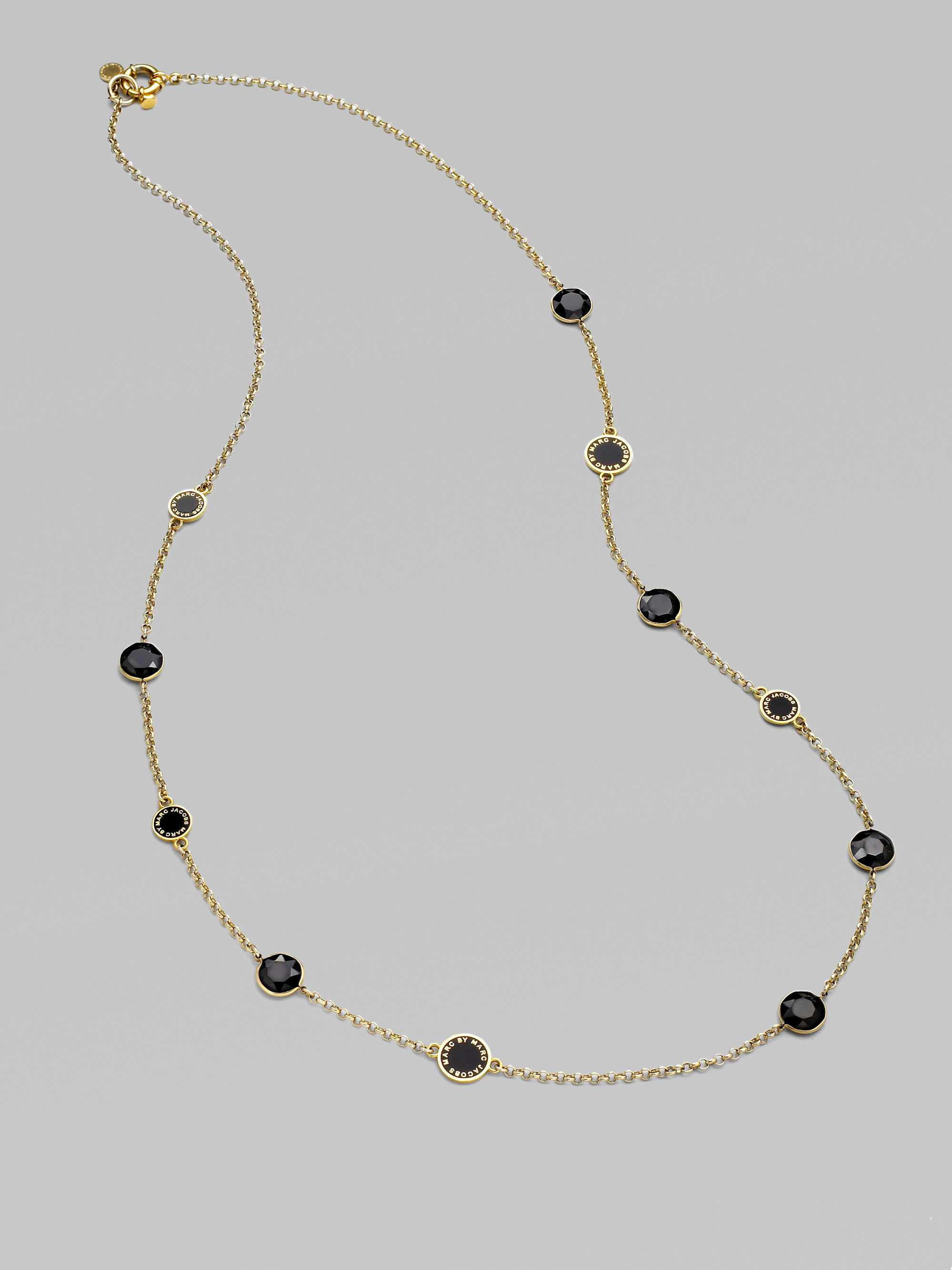 Marc By Marc Jacobs Enamel Faceted Disc Long Necklace In