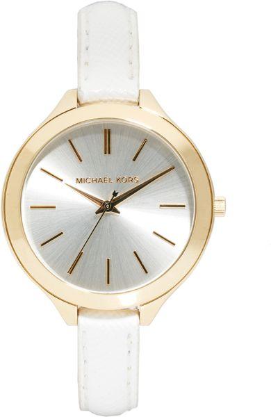 Изображение 1 из Часы с белым ремешком Michael Kors Runway