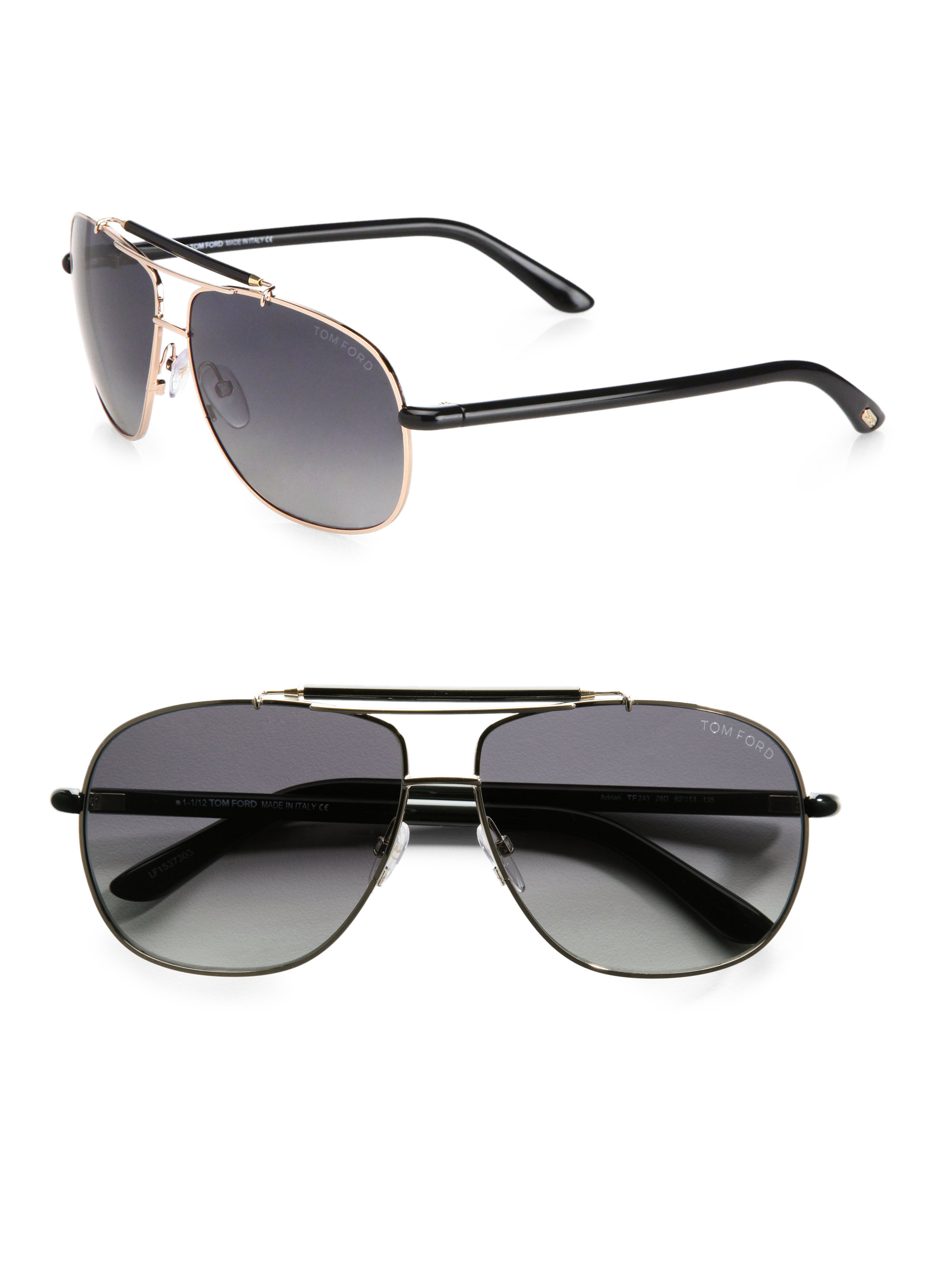 Tom Ford Z Metal Navigator Sunglasses In Black For Men Lyst