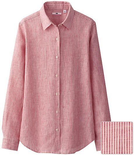 Uniqlo premium linen stripe long sleeve shirt in pink lyst for Uniqlo premium t shirt