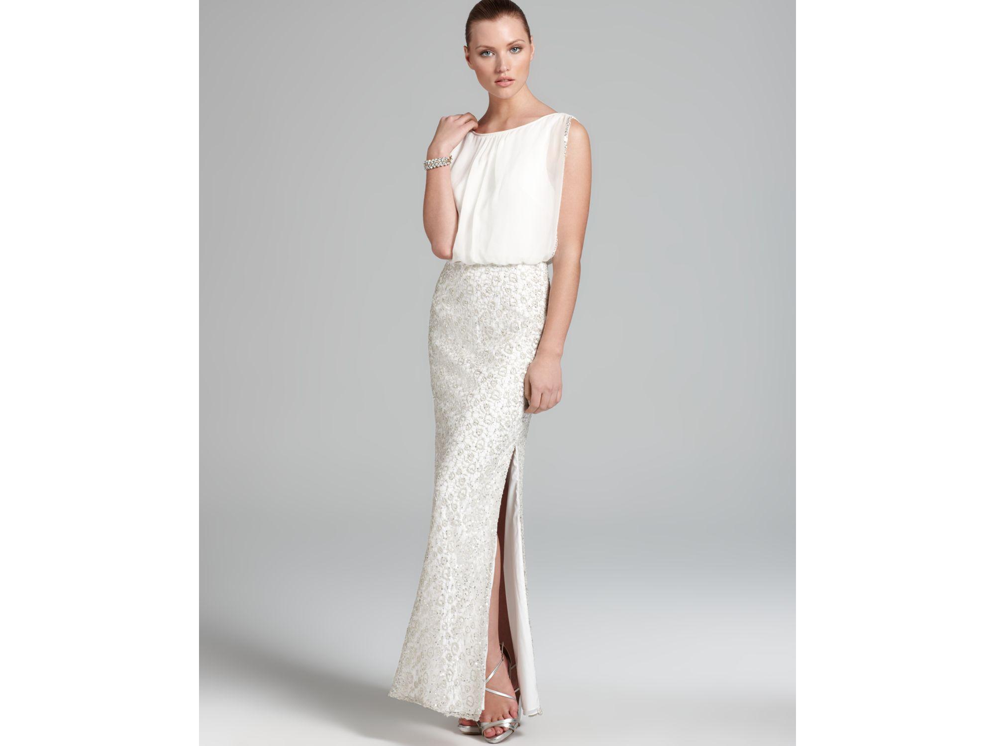 Beaded Mesh Blouson Gown | Lauren Goss