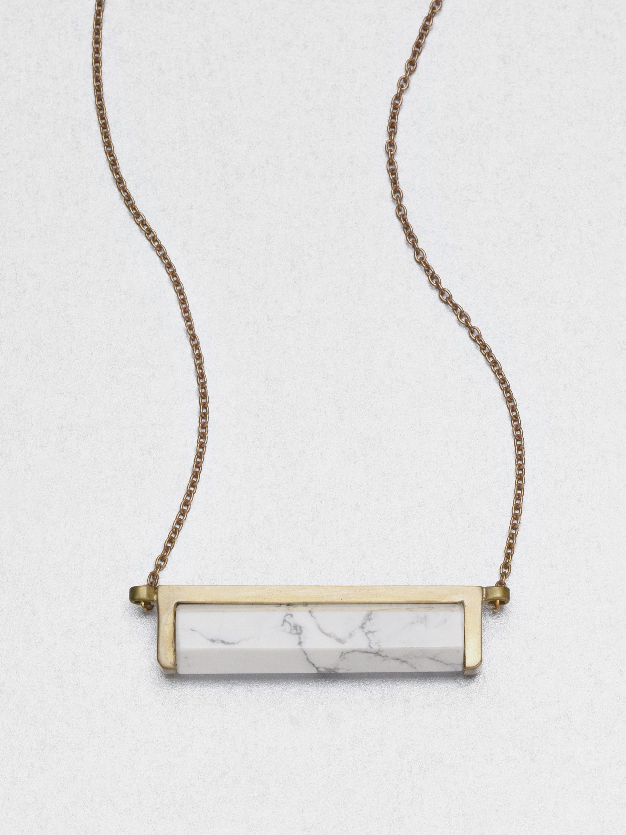 01644ae2d2c25 A.L.C. Metallic Howlite Bar Pendant Necklace