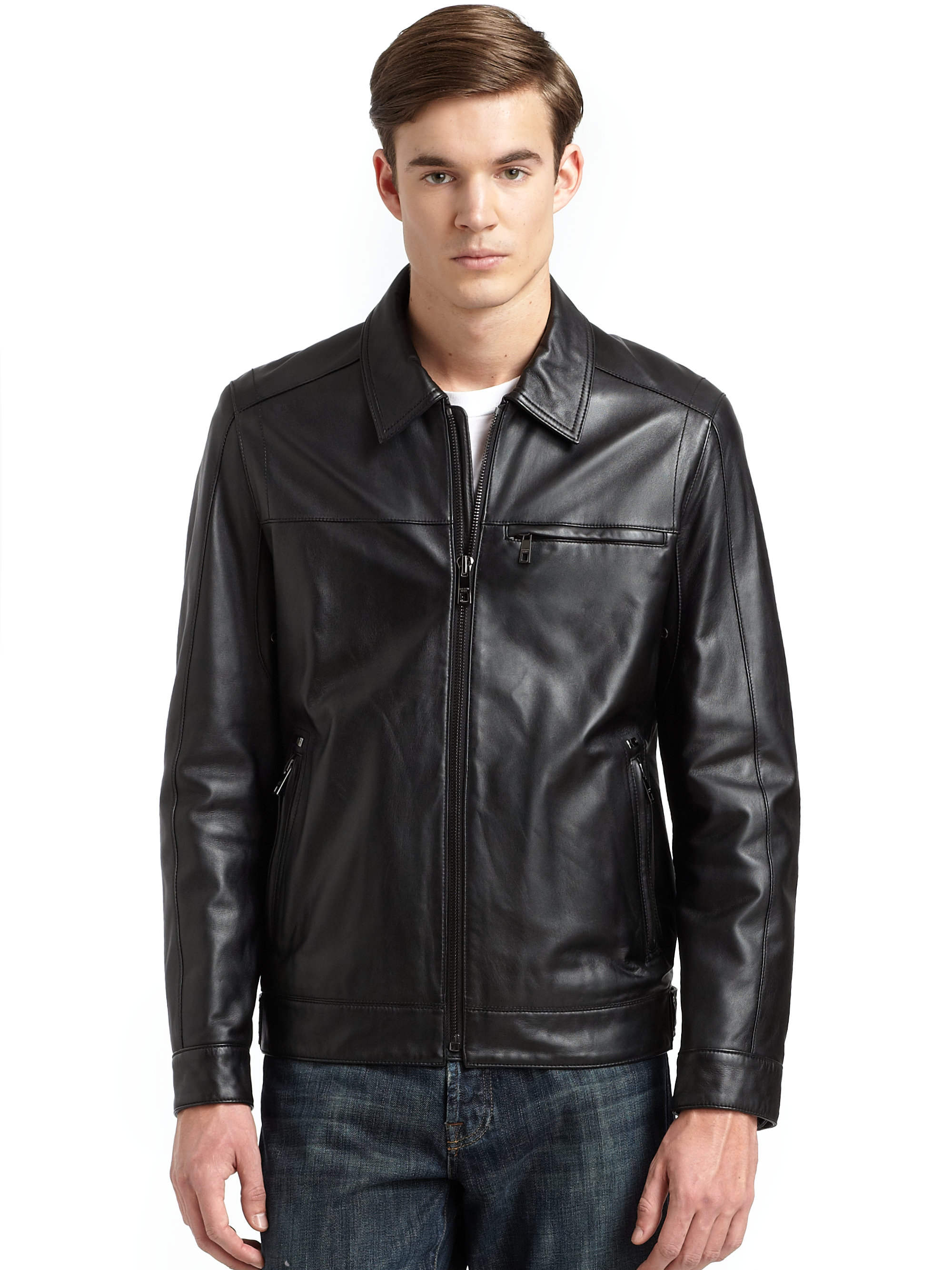Andrew marc Leather Driving Jacket in Black for Men | Lyst